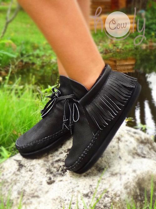 """Black Mambo"" Leather Inca Boots"