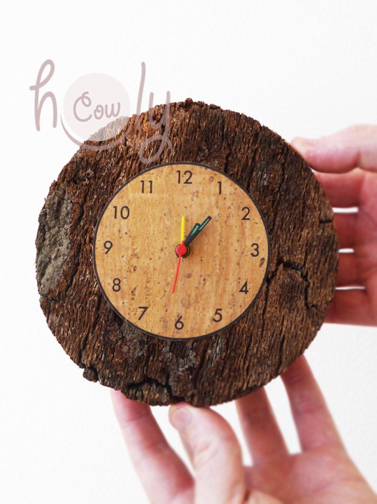 Small Circular Natural Eco Friendly Cork Clock