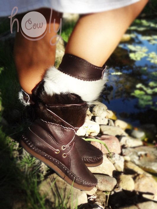 100% Handmade Funky Moccasins With Hairy Cowhide