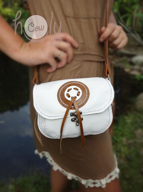 "White Leather ""Magic Circle"" Shoulder Bag"
