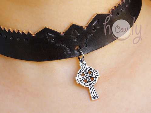 Leather Necklace With Celtic Cross