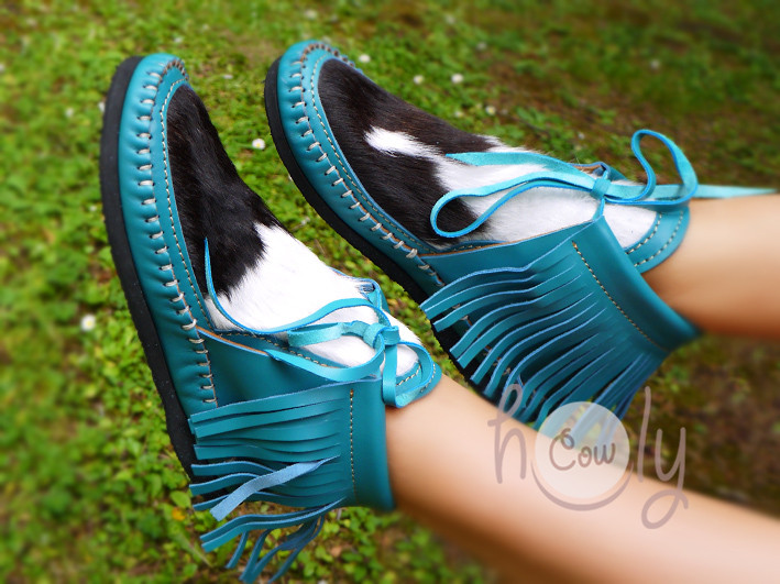 Turquoise Leather Moccasins With Hairy Cowhide