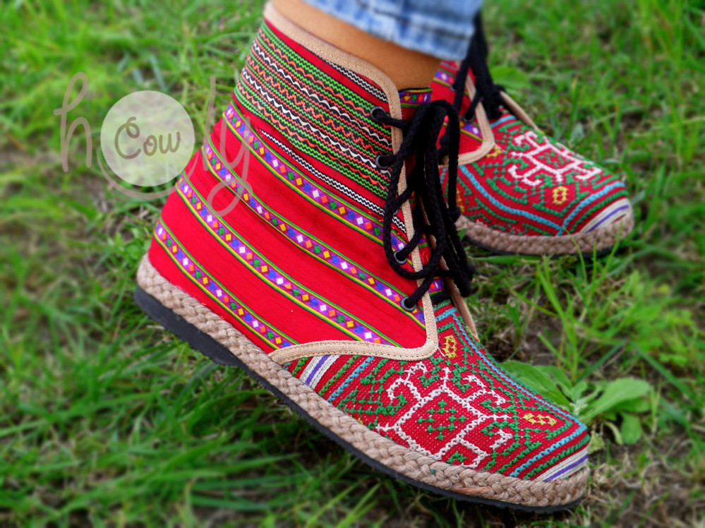 Red Tribal Vegan Ankle Boots