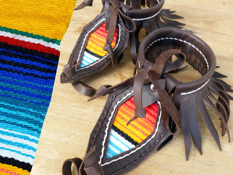 Serape SALE! Brown Leather Serape Barefoot Sandals
