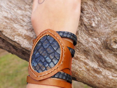 New Brown Leather Bracelet With Blue Snake Print Leather