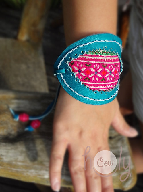 Turquoise Leather Hmong Bracelet