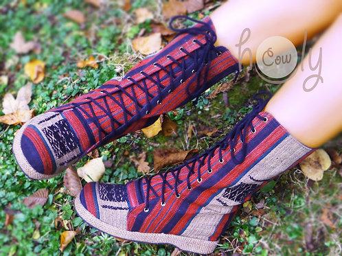 Red Tribal Vegan Boots