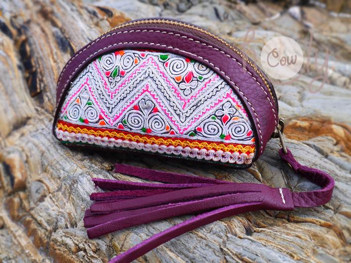 New & Beautiful Purple Leather Tribal Wallet