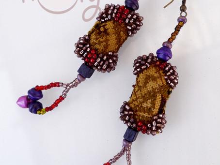 One Off Handmade Brown Tribal Boho Chic Earrings