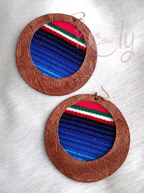 Large Leather Serape Boho Earrings