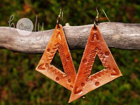 Handmade Brown Leather Tribal Earrings