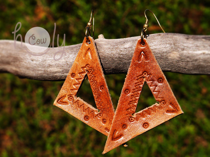 Handmade Brown Leather Tribal Earrings