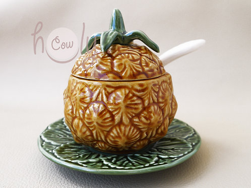 Pineapple Bowl With Spoon on Leaf Plate
