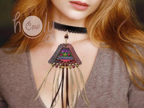 Unique Tribal Leather Choker Necklace