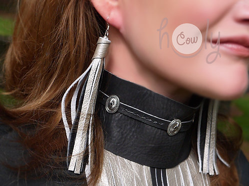 Boho Silver & Black Leather Earrings