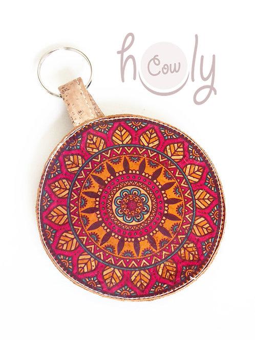 Circular Key Ring Cork Coin Purse