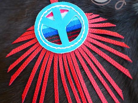 Leather Serape Peace Key Ring