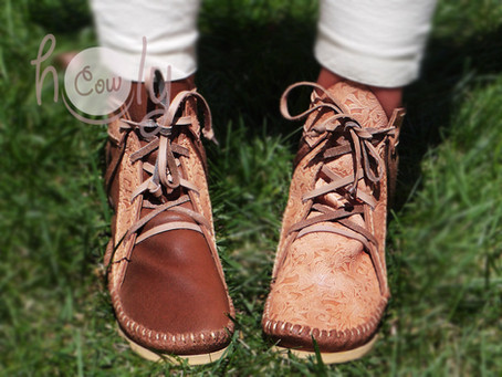 New Amazing Handmade Brown Leather Moccasin Boots