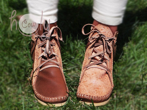 Handmade Twist Brown Leather Moccasins