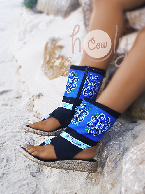 Blue Tribal Vegan Sandals