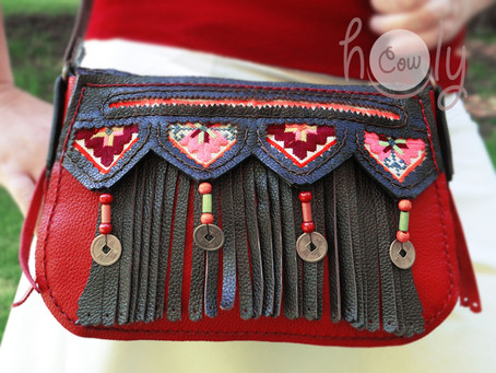 Brown & Red Leather Hmong Hill Tribe Shoulder Bag
