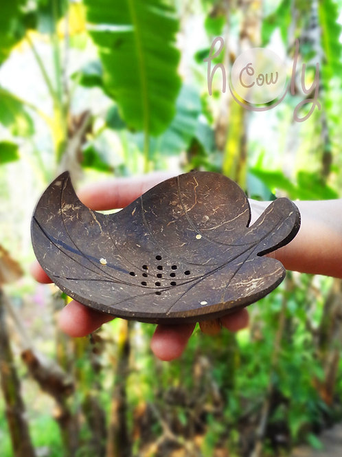 """Coconut Shell """"Leaf"""" Soap Dish"""