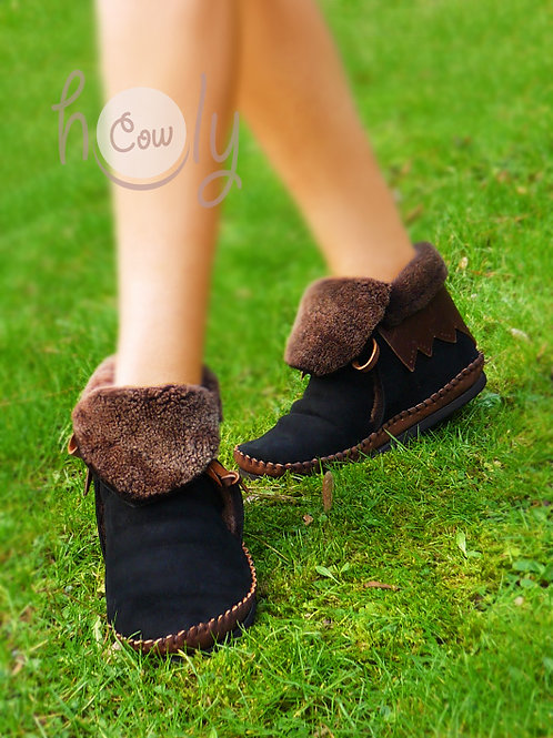 Cow Leather And Sheep Skin Moccasins
