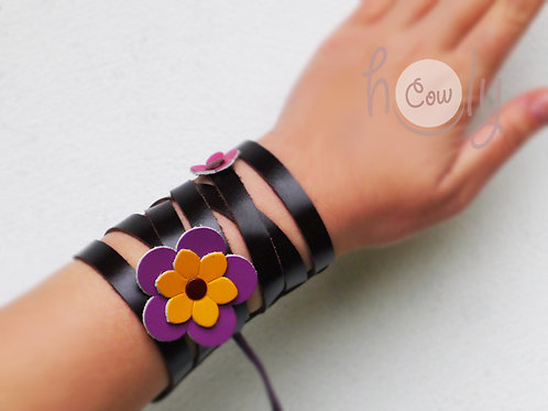 "Leather ""Flower Power"" Bracelet"