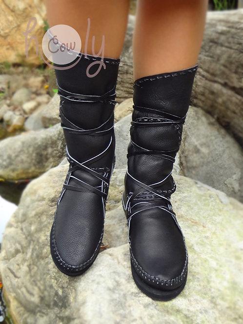 """Dark Knight"" Leather moccasins"