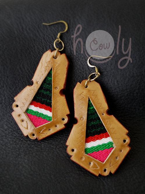 Brown Leather Serape Boho Earrings