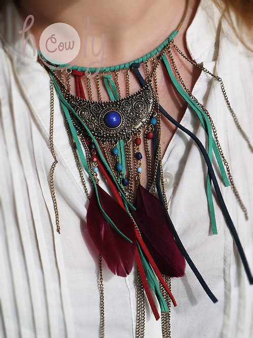 Womens Leather Boho Necklace