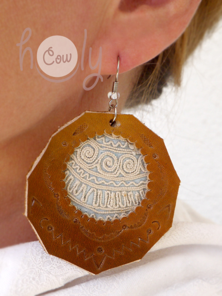 Handmade Large Tribal Leather Boho Chic Earrings