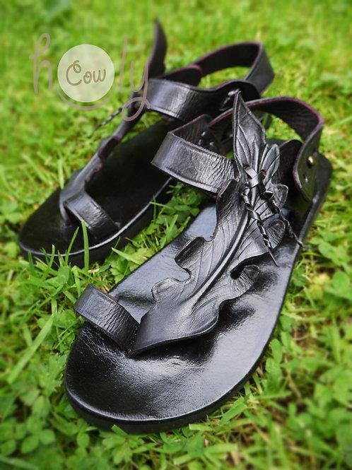 Black Leaf Leather Sandals