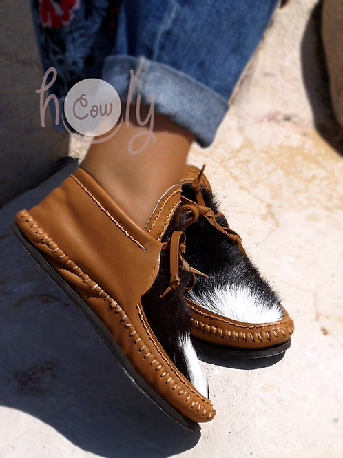 Brown Leather Cowhide Moccasins