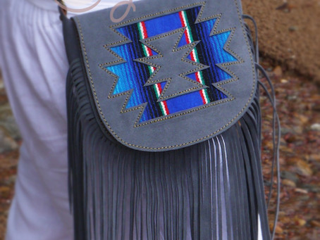 New Year With A New Gray Suede Leather Serape Shoulder Bag