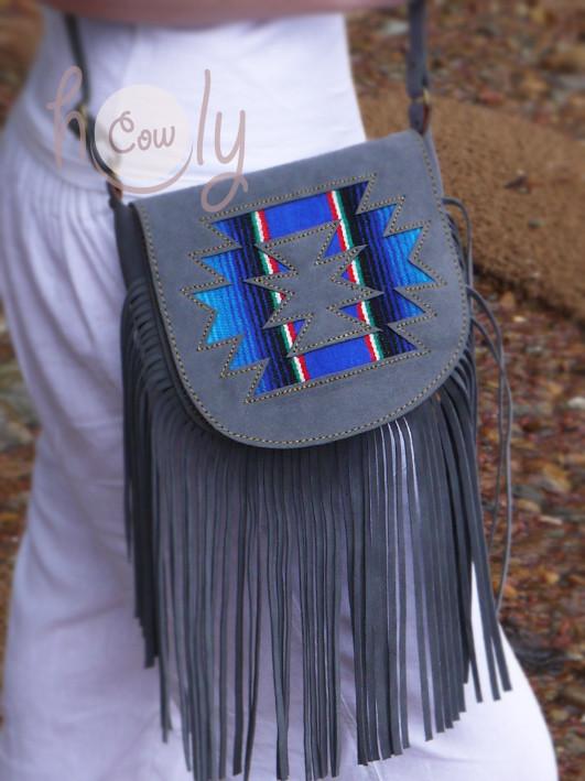 New Gray Suede Leather Serape Shoulder Bag