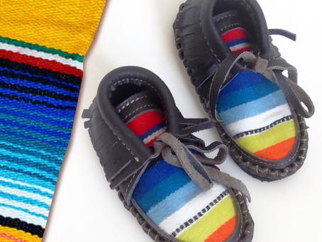 Serape Madness! Handmade Gray Leather Serape Baby Boots