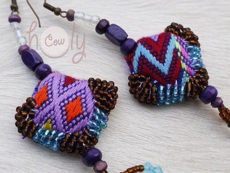 One Off Handmade Purple & Blue Tribal Boho Chic Earrings