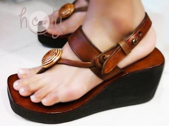 Handmade Brown Leather Platform Sandals