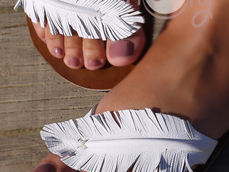 New Handmade Feather Leather Sandals