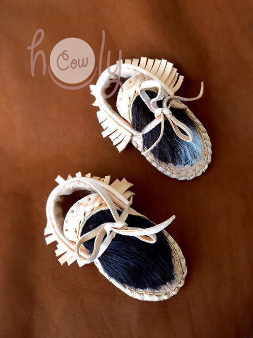 Leather Hairy Cowhide Baby Moccasins