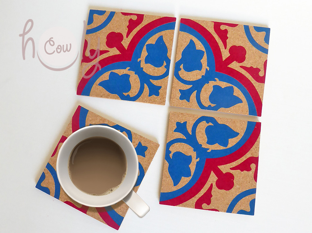 Set of 4 Colorful Tile Cork Coasters