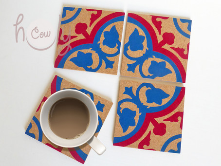Set of 4 Colorful Tile Cork Coasters For Dinning Table