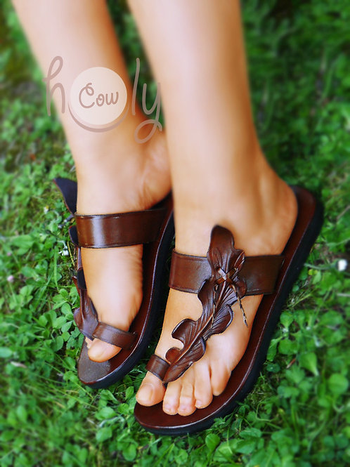 Brown Leather Leaf Sandals