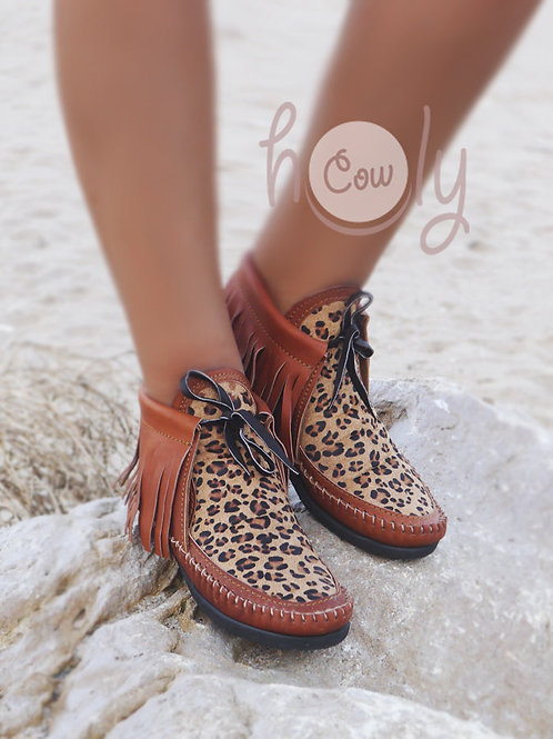 Leather Moccasins With Leopard Print