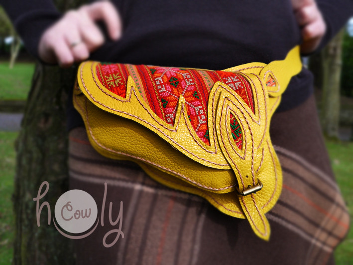 100% Handmade Yellow Leather Hmong Belt Bag