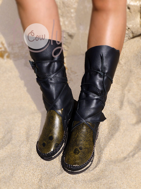 Black And Green Leather Moccasins