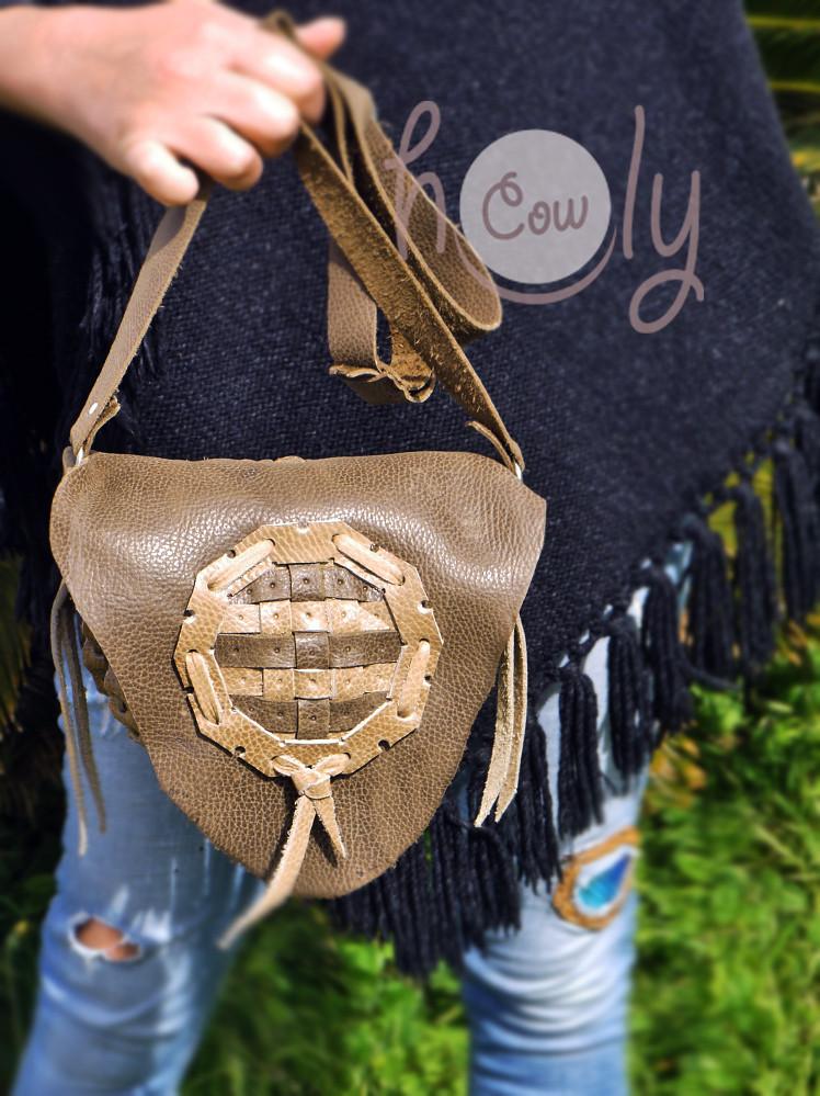 Handmade Brown And Beige Medieval Leather Shoulder Bag