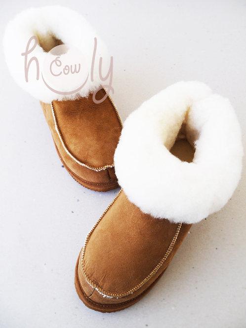Handmade Brown Sheepskin Slippers