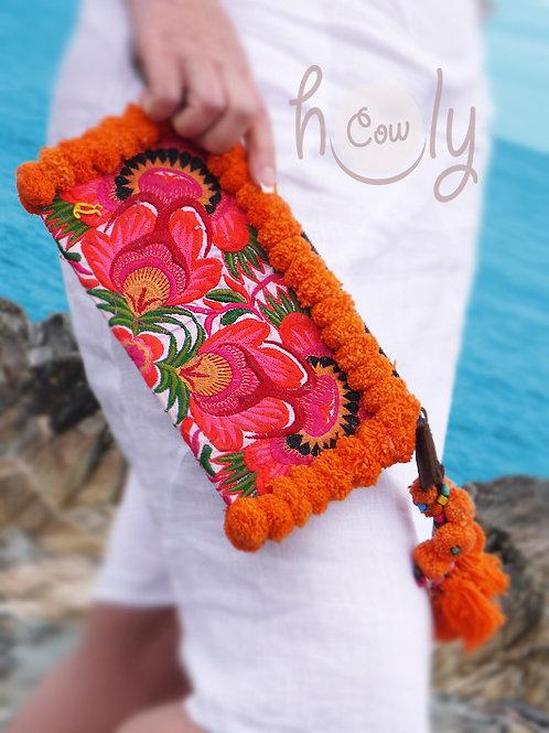 Orange Tribal Vintage Wristlet Bag